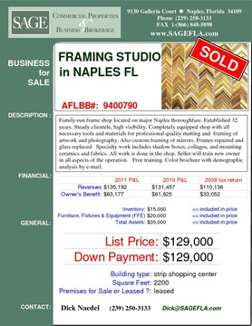 Family-run frame shop located on major Naples thoroughfare. Established 32 years. Steady clientele, high visibility. Completely equipped shop with all necessary tools and materials for professional quality matting and  framing of artwork and photography. Also custom framing of mirrors. Frames repaired and glass replaced.  Specialty work includes shadow boxes, collages, and mounting ceramics and fabrics. All work is done in the shop. Seller will train new owner in all aspects of the operation.   Free training. Color brochure with demographic analysis by e-mail.