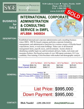 Established international corporate administration and consulting business (since 2003).  SW FL-based company performs corporate formation, management, and administrative functions for overseas owners of Florida-based corporations, trusts, or real estate holdings. Takes care of all financial management items, payroll, taxes, and investments. Assists clients in identifying suitable legal, tax and investment advisers, banks, real estate and insurance brokers. Fee-based accounts of over 100 repeat customers. E-2 visa candidate. Free training. Color brochure with market and demographic analysis