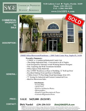 "3,500SF +/- Commercial/Industrial Condo Unit. Pine Ridge Industrial Park. Convenient to all of Naples. Unit Designed by National Award-Winning Interior Designer. Tile, Carpeting and Wall Treatments Included. Office Spaces Fully Built Out. Has 1250SF Warehouse at Rear of Building, 12' Roll-up Door. Excellent Parking Front and Rear of Building. 3 Miles from I-75-Pine Ridge Road Interchange (Exit 107). ""I"" Zoning for Industrial and Certain Commercial Uses. Ideal for Showroom Sales."