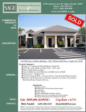 "Class ""A"" Commercial Office Building in Naples FL. 4,477 SF—with 4 Built-out Office Units.  .4A+/- land. Built in 2004. Hurricane Specs. 4 office units Fully leased. 6.7% Cap Rate.  Unit 1=940SF, Unit 2=835SF, Unit 3=910SF, Unit 4=1792SF Zoned Commercial PUD— Commercial Uses. Upscale North Naples Location. Ideal for Any Professional Use: Insurance Agencies, Law Firms, Accountants, Real Estate Firms, Financial Advisors."