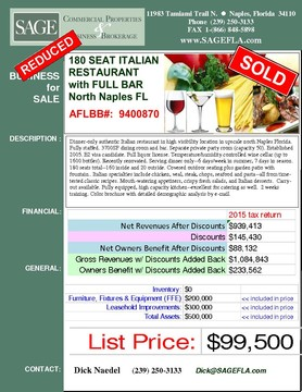 Dinner-only authentic Italian restaurant in high visibility location in upscale north Naples Florida. Fully staffed. 3700SF dining room and bar. Separate private party room (capacity 50). Established 2005. Full liquor license. E2 visa candidate. Temperature/humidity controlled wine cellar (up to 1600 bottles). Recently renovated. Serving dinner only--6 days/week in summer, 7 days in season. 180 seats total--160 inside and 20 outside. Covered outdoor seating plus garden patio with fountain. Italian specialties include chicken, veal, steak, chops, seafood and pasta--all from time-tested classic  recipes. Mouth-watering appetizers, crispy fresh salads, and Italian desserts.  Carry-out available. Fully equipped, high capacity kitchen--excellent for catering as well.  2 weeks training. Color brochure with detailed demographic analysis by e-mail.