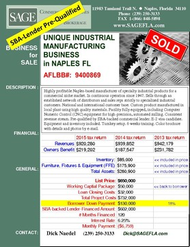 Highly profitable Naples-based manufacturer of specialty industrial products for a commercial niche market. In continuous operation since 1947. Sells through an established network of distributors and sales reps strictly to specialized industrial customers. National and international customer base. Custom product manufactured in local plant using high quality materials. Facility fully equipped, including Computer Numeric Control (CNC) equipment for high-precision, automated milling. Consistent revenue stream. Pre-qualified by SBA-backed commercial lender. E-2 visa candidate. Equipment and inventory included. Turnkey setup. 6 weeks training. Color brochure with details and photos by e-mail.