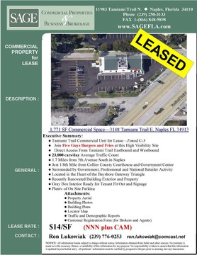 Tamiami Trail Commercial Unit for Lease—Zoned C-3. Join Five Guys Burgers and Fries at this High Visibility Site. Direct Access From Tamiami Trail Eastbound and Westbound. 23,000 cars/day Average Traffic Count. 1.7 Miles from 5th Avenue South in Naples. Just 1/8th Mile from Collier County Courthouse and Government Center. Surrounded by Government, Professional and National Retailer Activity. Located in the Heart of the Bayshore Gateway Triangle. Recently Renovated Building Exterior and Property. White Box Interior Ready for Tenant Fit Out and Signage. Plenty of On Site Parking