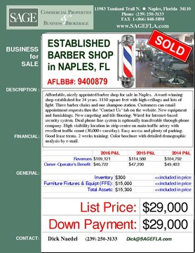 "Affordable, nicely appointed barber shop for sale in Naples.  Award-winning shop established for 24 years. 1150 square feet with high ceilings and lots of light. Three barber chairs and one shampoo station. Customers can email appointment requests thru the ""Contact Us"" tab on the website. New equipment and furnishings. New carpeting and tile flooring. Wired for Internet-based security system. Dual phone line system is optionally transferable through phone company. High visibility location in strip center on main traffic artery with excellent traffic count (30,000+ cars/day). Easy access and plenty of parking. Good lease terms. 2 weeks training. Color brochure with detailed demographic analysis by e-mail."