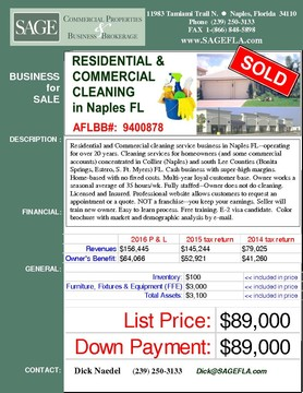 Residential and Commercial cleaning service business in Naples FL--operating for over 20 years. Cleaning services for homeowners (and some commercial accounts) concentrated in Collier (Naples) and south  Lee Counties (Bonita Springs, Estero, S. Ft. Myers) FL. E-2 visa candidate.  Cash business with super-high margins. Home-based with no fixed costs. Multi-year loyal customer base. Owner works a seasonal average of 35 hours/wk. Fully staffed--Owner does not do cleaning. Licensed and Insured. Professional website allows customers to request an appointment or a quote. NOT a franchise--you keep your earnings. Seller will train new owner. Easy to learn process. Free training. Color brochure with market and demographic analysis by e-mail.