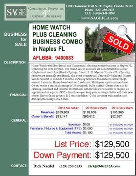 Home Watch with Residential and Commercial cleaning service business in Naples FL. Operating for over 20 years. 100 Home Watch accounts are concentrated in Collier (Naples) and south Lee (Bonita Springs, Estero, S. Ft. Myers) Counties FL. Cleaning services are primarily residential, plus some commercial. Seasonally balanced--Home Watch heaviest in summer 6 months, Cleaning Services dominates in winter (high season) 6 months. E2 visa candidate. Home-based with no fixed costs. Multi-year loyal customer base. Owner works a seasonal average of 35 hours/wk. Fully staffed--Owner does not do cleaning. Licensed and Insured. Professional website allows customers to request an appointment or a quote. NOT a franchise--you keep your earnings. Seller will train new owner. Easy to learn process. E-2 visa candidate.  Color brochure with market and demographic analysis by e-mail.