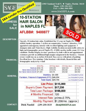 Upscale, 10-station hair salon. Established for 22 years in Naples FL. Fully staffed, turnkey operation. 5 stylists on commission, 5 renters. Attractive, well-appointed contemporary interior with excellent lighting and equipment. 3 shampoo sinks and 3 hair dryers. High visibility location on main traffic artery in high end demographics area of Naples FL. 47,000 cars/day traffic count. E-2 visa candidate. Product display in store--purchases by both walk-in and appointment customers provide an additional high margin component to the business.  Current owner would stay on as stylist, if desired. Easy access with plenty of parking. Excellent lease. Free training. Color brochure with details, financial data and demographic analysis by e-mail