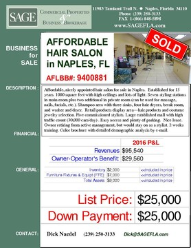Affordable, nicely appointed hair salon for sale in Naples.  Established for 15 years. 1000 square feet with high ceilings and lots of light. Seven styling stations in main room plus two additional in private room (can be used for massage, nails, facials, etc.). Shampoo area with three sinks, four hair dryers, break room, and washer and dryer.  Retail products display area---hair products and costume jewelry selection. Five commissioned stylists. Large established mall with high traffic count (30,000 cars/day) . Easy access and plenty of parking.  Nice lease. Owner retiring from active management, but would stay on as a stylist. 2 weeks training. Color brochure with detailed demographic analysis by e-mail.