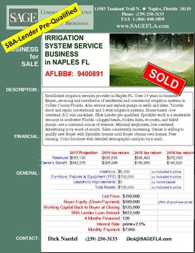 Established irrigation services provider in Naples FL. Over 15 years in business. Repair, servicing and installation of residential and commercial irrigation systems in Collier County Florida. Also service and replace pumps in wells and lakes. Trouble shoot and repair conventional and 2-wire irrigation systems. Home-based--low overhead. E-2 visa candidate. SBA-Lender pre-qualified. Sprinkler work is a renewable resource in southwest Florida--clogged heads, broken lines, re-routes, and failed pumps--are a continual source of revenue. Minimal employees, low overhead. Advertising is by word-of-mouth. Sales consistently increasing. Owner is willing to qualify new Buyer with Sprinkler license until Buyer obtains own license. Free training. Color brochure with detailed demographic analysis by e-mail.