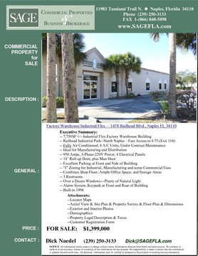 "7,750SF +/- Industrial Flex Factory Warehouse Building. Railhead Industrial Park--North Naples—Fast Access to I-75 (Exit 116). Fully Air Conditioned, 4 A/C Units, Under Contract Maintenance. Ideal for Manufacturing and Distribution. 950 Amps, 3-Phase-220V Power, 4 Electrical Panels. 14' Roll-up Door, plus Man Door. Half-Acre Lot. Excellent Parking at Front and Side of Building. ""I"" Zoning for Industrial, Manufacturing and some Commercial Uses. Combines Shop Floor, Ample Office Space, and Storage Areas. 3 Restrooms. Over a Dozen Windows---Plenty of Natural Light. Alarm System, Keypads at Front and Rear of Building. Built in 1998."