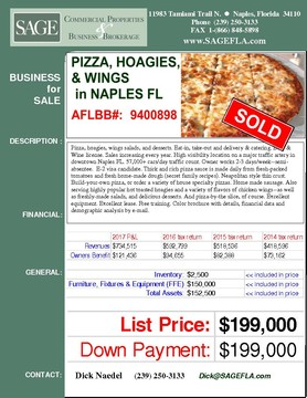 Pizza, hoagies, wings salads, and desserts. Eat-in, take-out and delivery & catering. Beer & Wine license. Sales increasing every year. High visibility location on a major traffic artery in downtown Naples FL. 57,000+ cars/day traffic count. Owner works 2-3 days/week--semi-absentee.  E-2 visa candidate. Thick and rich pizza sauce is made daily from fresh-packed tomatoes and fresh home-made dough (secret family recipes). Neapolitan style thin crust. Build-your-own pizza, or order a variety of house specialty pizzas. Home made sausage. Also serving highly popular hot toasted hoagies and a variety of flavors of chicken wings--as well as freshly-made salads, and delicious desserts. And pizza-by-the slice, of course. Excellent equipment. Excellent lease. Free training. Color brochure with details, financial data and demographic analysis by e-mail.
