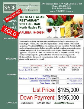 Dinner-only authentic Italian restaurant in high visibility location in upscale north Naples Florida. 160 seats. Full liquor license. Fully staffed.  8th year of operations. Consistent $Million+/yr. business. E2 visa candidate. Next to Publix-anchored shopping center. Italian specialties include chicken, veal, steak, chops, seafood and pasta--all from time-tested classic recipes. Mouth-watering appetizers, crispy fresh salads, and Italian desserts.  Carry-out available. Fully equipped, high capacity, spotless kitchen--excellent for catering as well.  Restaurant looks like new. 2 weeks training. Color brochure with detailed demographic analysis by e-mail.