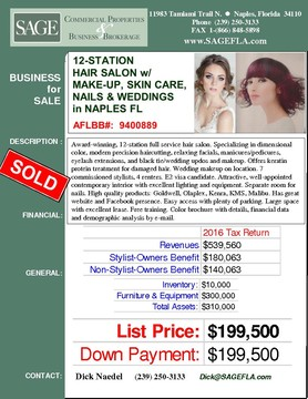 Award-winning, 12-station full service hair salon. Specializing in dimensional color, modern precision haircutting, relaxing facials, manicures/pedicures, eyelash extensions, and black tie/wedding updos and makeup. Offers keratin protein treatment for damaged hair. Wedding makeup on location. 7 commissioned stylists, 4 renters. E2 visa candidate. Attractive, well-appointed  contemporary interior with excellent lighting and equipment. Separate room for nails. High quality products: Goldwell, Olaplex, Kenra, KMS, Malibu. Has great website and Facebook presence. Easy access with plenty of parking. Large space with excellent lease. Free training. Color brochure with details, financial data and demographic analysis by e-mail.