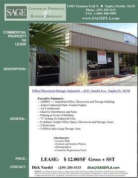 "2,000SF +/- Industrial Office, Showroom and Storage Building. Airport Industrial Park. Central Naples. Air Conditioned. Ideal for Distribution. Parking at Front of Building. ""I"" Zoning for Industrial Uses. Combines Ample Office Space, Showroom and Storage Areas. 2 Restrooms. 5 Offices plus Large Showroom/Storage Area."