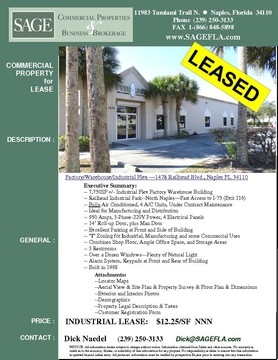 "Factory/Warehouse/Industrial Flex —1478 Railhead Blvd., Naples FL 34110  7,750SF +/- Industrial Flex Factory Warehouse Building. Railhead Industrial Park, North Naples—Fast Access to I-75 (Exit 116). Fully Air Conditioned, 4 A/C Units, Under Contract Maintenance. Ideal for Manufacturing and Distribution. 950 Amps, 3-Phase-220V Power, 4 Electrical Panels. 14' Roll-up Door, plus Man Door. Excellent Parking at Front and Side of Building. ""I"" Zoning for Industrial, Manufacturing and some Commercial Uses. Combines Shop Floor, Ample Office Space, and Storage Areas. 3 Restrooms. Over a Dozen Windows, Plenty of Natural Light. Alarm System, Keypads at Front and Rear of Building. Built in 1998"