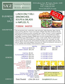 Deli in Naples, FL serving lunch only--sandwiches, soups and salads. Seller financing. Open 20 hr/wk during mid-day, Mon-Fri. 4-time award winner of Naples Daily News Southwest Florida Choice Award. Fantastic location, incredible sales volume, closed by 3, and no weekends! Near Naples' exclusive 5th Ave shopping district, county, city and professional offices, and Naples Community Hospital. Simple menu of award-winning take-out foods. Heavy CASH. What if you added breakfast?  2 cooks, 2 at the counter. Seats 42 inside/outside. Top of the line POS system keeps track of things during the rush. Customers can order ahead by phone, fax and e-mail. Great website with menu--and computer faxes out daily specials. Plenty of off-street parking. Great lease rate. Perfect for husband & wife team. E-2 visa candidate. Free training. Color brochure by e-mail.