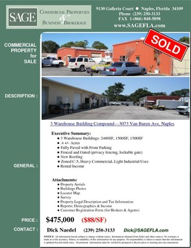 3 Warehouse Buildings—3073 Van Buren Ave, Naples FL 34112  3 Warehouse Buildings: 2400SF, 1500SF, 1500SF .4 +/- Acres Fully Paved with Front Parking  Fenced and Gated (privacy fencing, lockable gate)  New Roofing  Zoned C-5  Heavy Commercial, Light Industrial Uses. Incomer Producing.