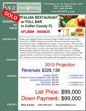 Dinner-only authentic Italian restaurant in high visibility location in Collier County FL. 4,000SF--dining room and bar. Newly renovated in August 2012.  Serving dinner only- 5 nights/week in summer, 7-days in season. 160 seats, full liquor license. Italian specialties include chicken, veal, steak, chops, seafood and pasta--all from classic  recipes created and time-tested in the Old Country. Mouth-watering appetizers and crispy fresh salads. Kids menu too. Tempting variety of dessert creations includes home-made Tiramisu. Fully equipped, high capacity kitchen--excellent for catering as well. Live entertainment in season. Free training. Color brochure with market and demographic analysis by e-mail.
