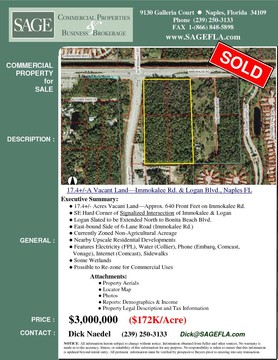 17.4+/- Acres Vacant Land—Approx. 640 Front Feet on Immokalee Rd. SE Hard Corner of Signalized Intersection of Immokalee & Logan. Logan Slated to be Extended North to Bonita Beach Blvd. East-bound Side of 6-Lane Road (Immokalee Rd.). Nearby Upscale Residential Developments. Features Electricity (FPL), Water (Collier), Phone (Embarq, Comcast,