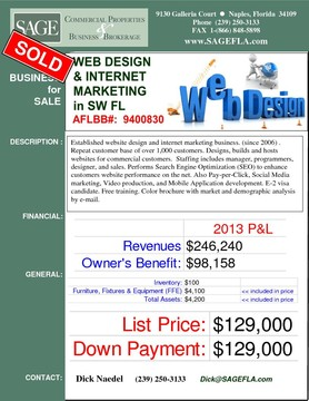 Established website design and internet marketing business. (since 2006) .  Repeat customer base of over 1,000 customers. Designs, builds and hosts websites for commercial customers.  Staffing includes manager, programmers, designer, and sales. Performs Search Engine Optimization (SEO) to enhance customers website performance on the net. Also Pay-per-Click, Social Media marketing, Video production, and Mobile Application development. E-2 visa candidate. Free training. Color brochure with market and demographic analysis by e-mail